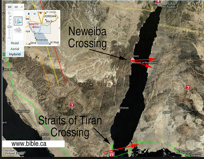 As mentioned in our section discussing the Red Sea Crossing, some scholars advocate for an alternative location further south at the Straits of Tiran. The number 3 marker identifies where Jabal Maqla is located, with the peninsula-shaped plain in front of it.