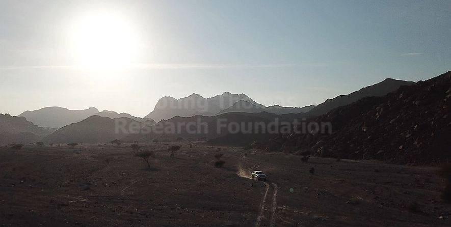 An aerial view of the desert through which we travled to Jabal Maqla.
